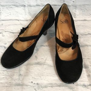 Sofft Mary Jane Black Suede Heels
